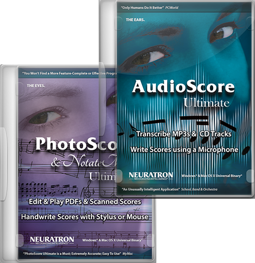 PhotoScore & NotateMe Ultimate 8 music scanning and handwritten entry & AudioScore Ultimate 8 audio recognition